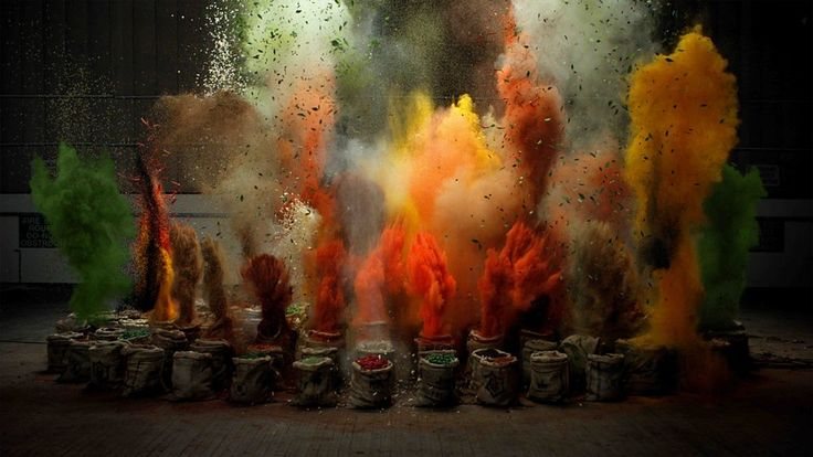 We know, it sounds ridiculous. Giant bags of spices loaded with pyrotechnics, exploding in perfect sync with music. But the result is pretty mesmerizing. Watch 'The Sound of Taste' on Colossal.   http://www.thisiscolossal.com/2014/01/the-sound-of-taste-slow-motion-spice-bag-explosions-synchronized-with-music/