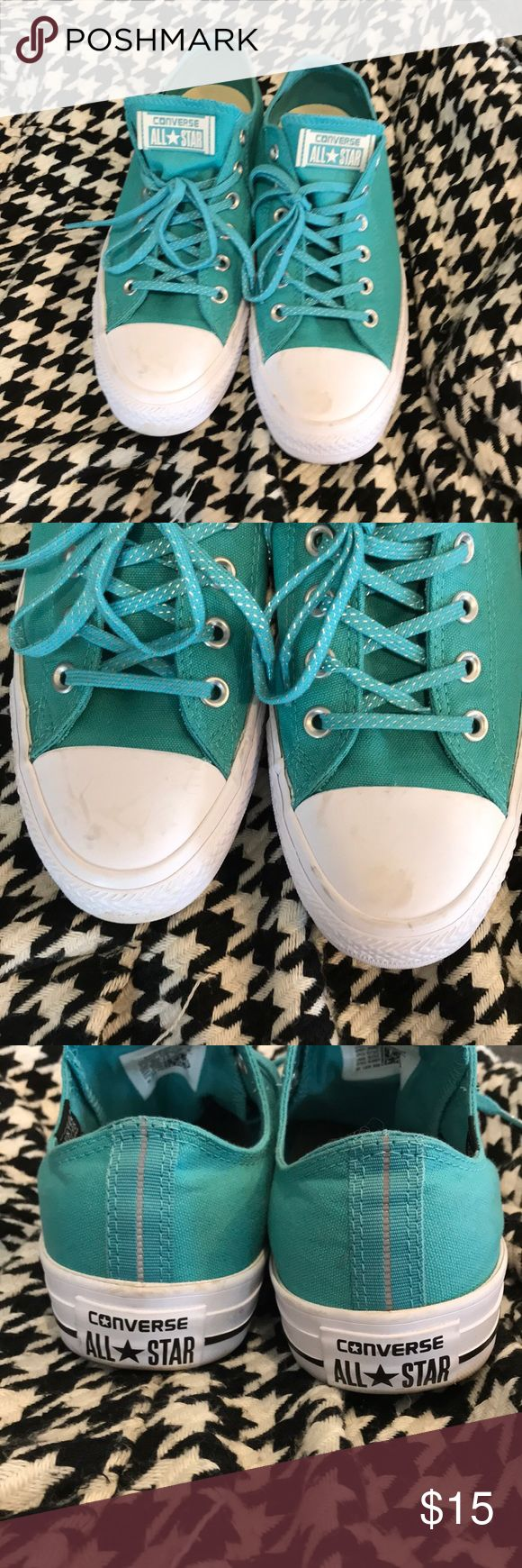 Teal Converse Teal Converse! Hardly worn. Size 9.5 women's but fits like a 10!  I'm a 10 and could never wear a 9.5! Converse Shoes
