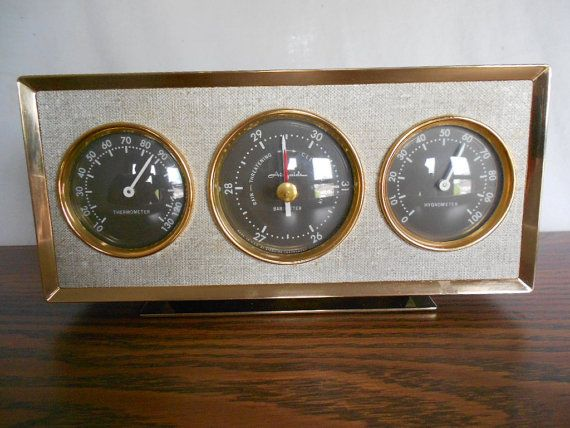 Mid Century Desk Top Weather Station Barometer by GuelphJunction