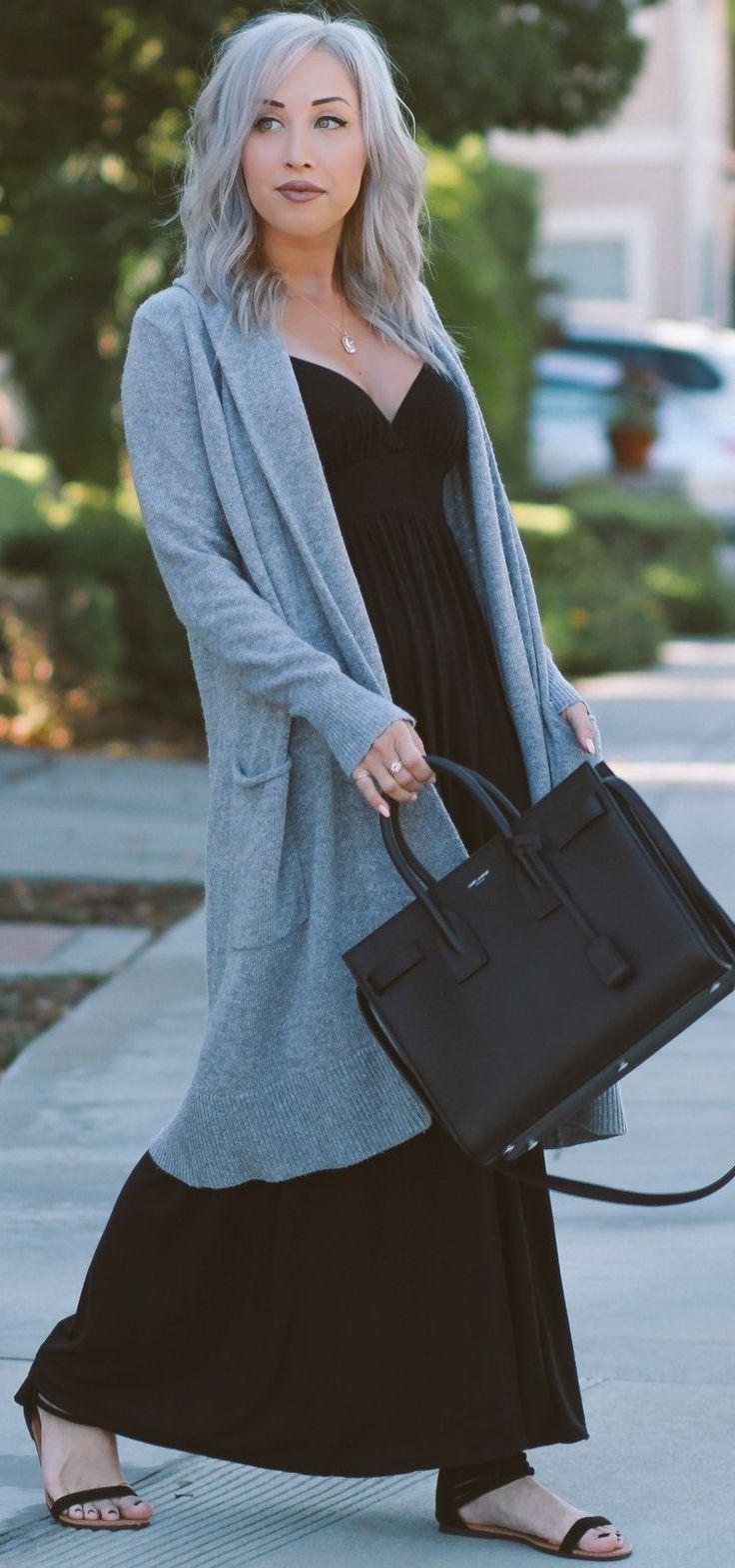 Long Comfy Cardigan + Black Maxi Dress + Saint Laurent Sac De Jour                                                                             Source