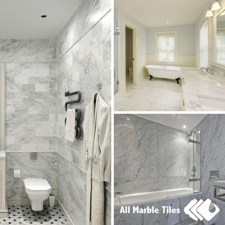 Bathroom Tile Ideas White Carrara Marble Tiles And