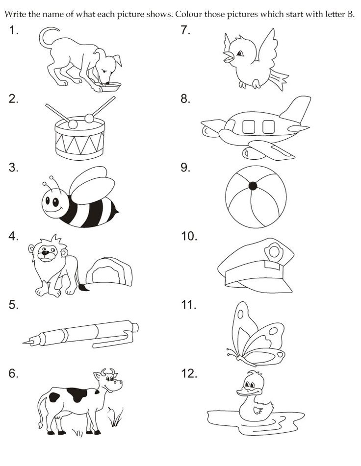 Download english activity worksheet colour those pictures which start with letter B from bestcoloringpages.com