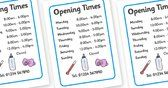 Baby Clinic Role Play Opening Times - Baby Clinic Role Play Pack, baby healthcare, vaccinations, prescription, nurse, doctor, syringe, thermometer, role play, display, poster