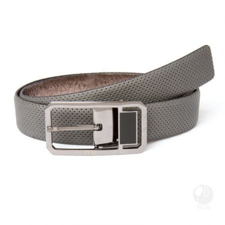 FERI - Luciano Belt - Grey Perforated - Mens genuine leather belt - Soft touch leather with pin hole design - Hand made and hand dyed - Buckle is plated with pewter colour - Buckle is custom engraved with FERI logos  Please refer to size chart for your size. www.gwtcorp.com/ghem or email fashionforghem.com for big discount