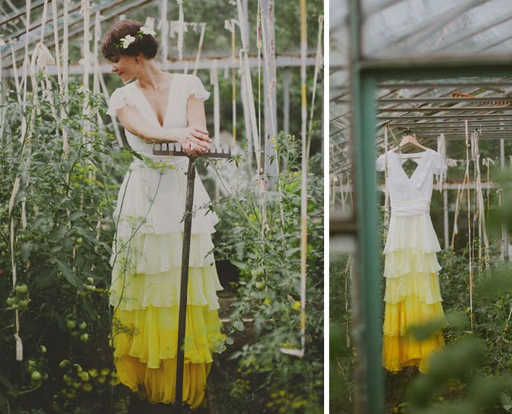 Deze dip-dye trouwjurken trend geeft je saaie jurk niet alleen een kleurrijke touch, hij zorgt er ook voor dat niemand meer op de vieze onderkant let.