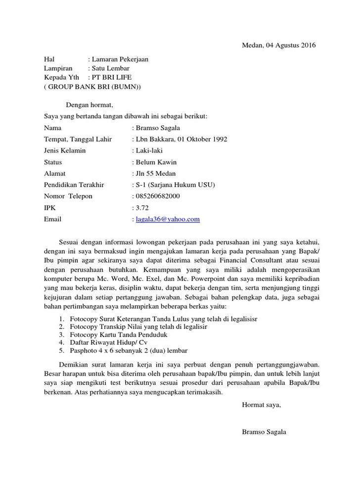 Contoh Surat Lamaran Kerja Di Bank Bri Life Contoh Lif Co Id