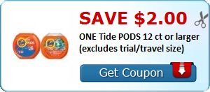 New Coupon!  Save $2.00 ONE Tide PODS 12 ct or larger (excludes trial/travel size) - http://www.stacyssavings.com/new-coupon-save-2-00-one-tide-pods-12-ct-or-larger-excludes-trialtravel-size-2/