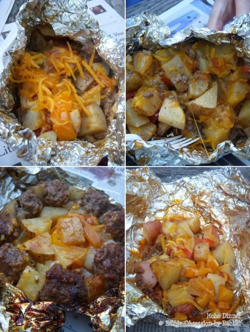 Camping Hobo Dinner - ground beef, bite-size vegetables (potato, onion, carrot, bell pepper, tomato), BBQ sauce, olive oil, and some seasonings. And cheese.