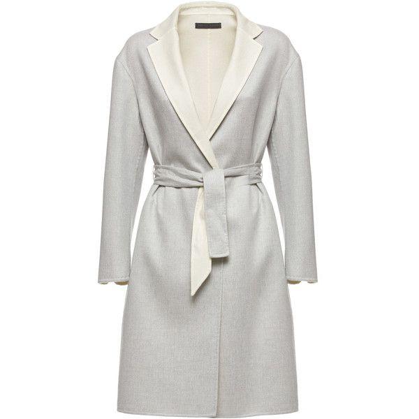 Fabiana Filippi Cashmere Trench Coat (206.300 RUB) ❤ liked on Polyvore featuring outerwear, coats, grey, knee length trench coat, gray coats, trench coats, pure cashmere coat and grey coat