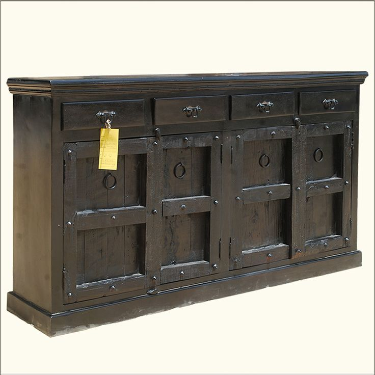 Reclaimed solid wood kansas city black buffet cabinet for Furniture kansas city