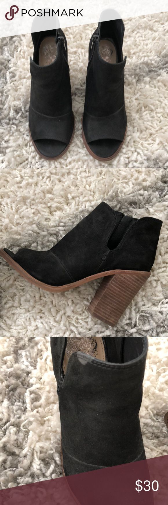 Vince camuto booties Popular Nordstrom anniversary sale 2016 suede booties with cut-out on one side. Zippered on one side. Stacked heel. Shows signs of wear on certain parts of shoe. Vince Camuto Shoes Ankle Boots & Booties