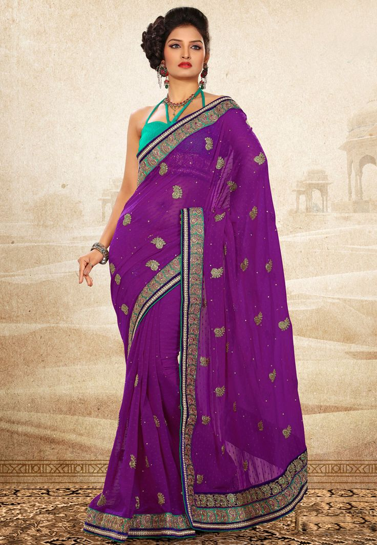 Violet & teal green  http://www.utsavfashion.com/saree/violet-faux-chiffon-jacquard-saree-with-blouse/sas389-itemcode