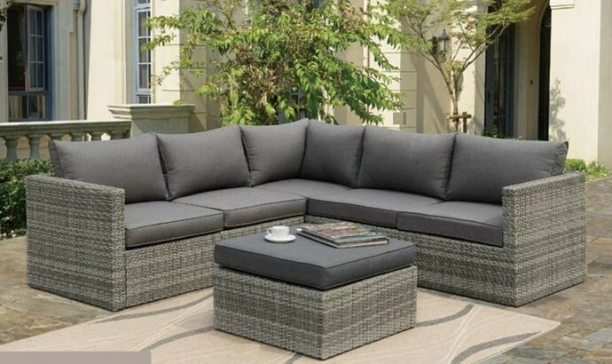 Poundex P50292 3 Pc Liz Kona Simple Collection Aluminum Frame And Resin Wicker Patio Sectional With Ottoman Outdoor Patio Decor Patio Furnishings Patio Design