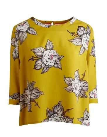 Joules Womens Blouse, Freya Floral Cornfield.                     Festooned with florals, this woven top will add a feminine touch to any wardrobe. As adaptable as you could wish for, it will sit pretty over jeans, trousers and shorts.