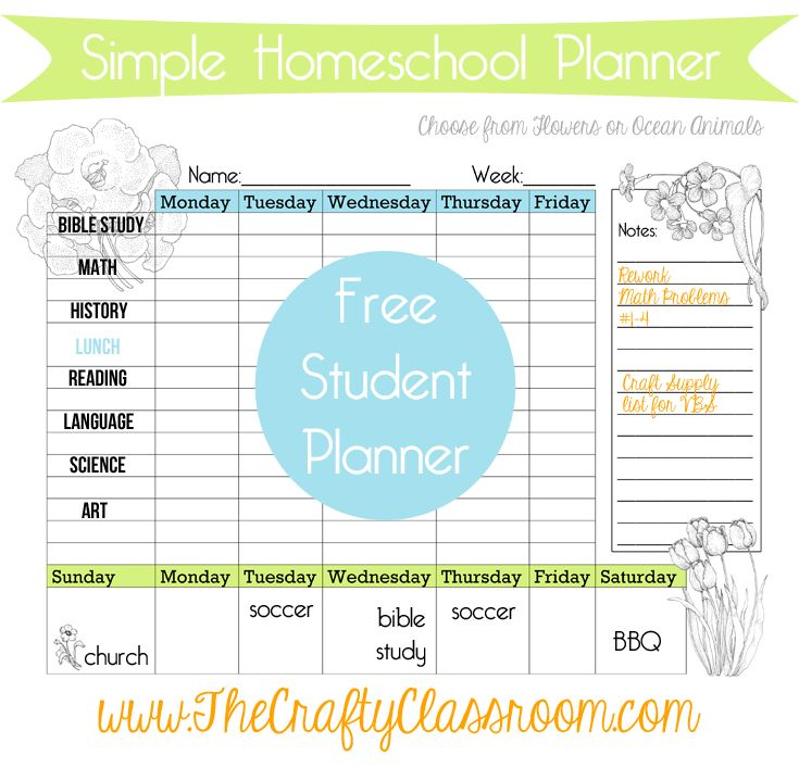 FREE Weekly Homeschool Student Calendar- on FD