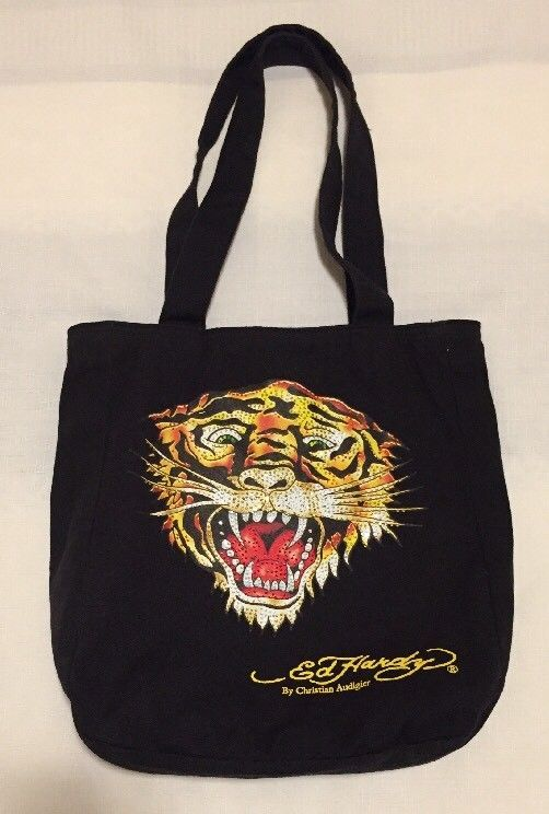eb5e6b63ad7a Ed Hardy Christian Audigier Black Cotton Embellished Sparkly Tiger Tote Bag   fashion  clothing  shoes  accessories  womensbagshandbags (ebay link)