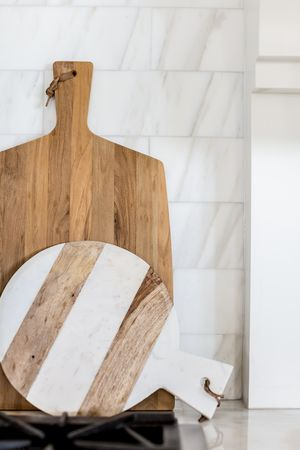 Marble & wood cutting boards. Love!!