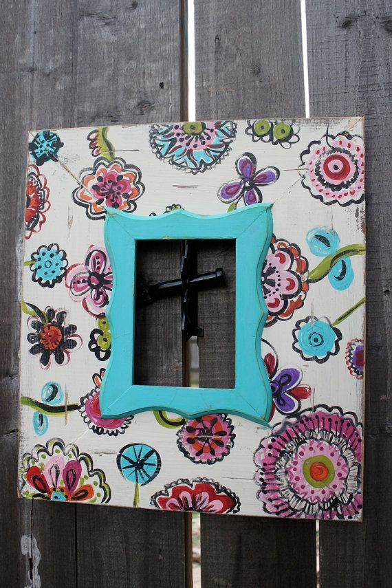 Hand Painted Freehand to Match Crib Bedding 5x7 Whimsey Floral Distressed Picture Frame. $100.00, via Etsy.