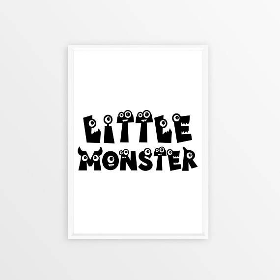 Little Monster Wall Art Boys Nursery Art Boys Monster Room