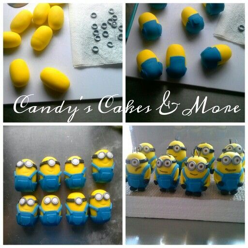 Fondant minion (fast tut) by Candy Ramirez Candy's Cakes and more, Instagram, Facebook, twitter and QueenBeeBaker.com