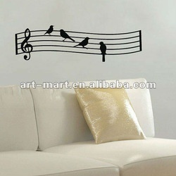 Birds on Wavy Music Staff as Music Notes Wall Decal Vinyl Art.... Cute tattoo idea