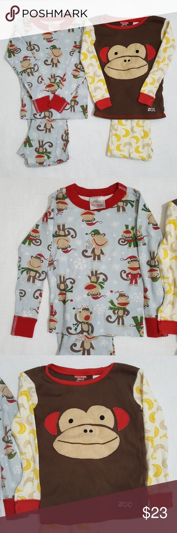 Hanna Andersson Holiday Monkey Pajamas - 100cm 4T This is a bundle of two pajama sets in a size 4T and 5 respectively. Normal wear, a couple small marks that are noted in photos. No holes or tears. Holiday monkeys are from Hanna Andersson and monkey & bananas are from Skip Hop.  Bundle & save.  3097 Hanna Andersson Pajamas Pajama Sets