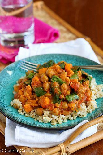 Slow Cooker Vegetable Curry Recipe with Sweet Potato & Chickpeas | cookincanuck.com #vegetarian #vegan #MeatlessMonday #slowcooker #crockpot | by CookinCanuck