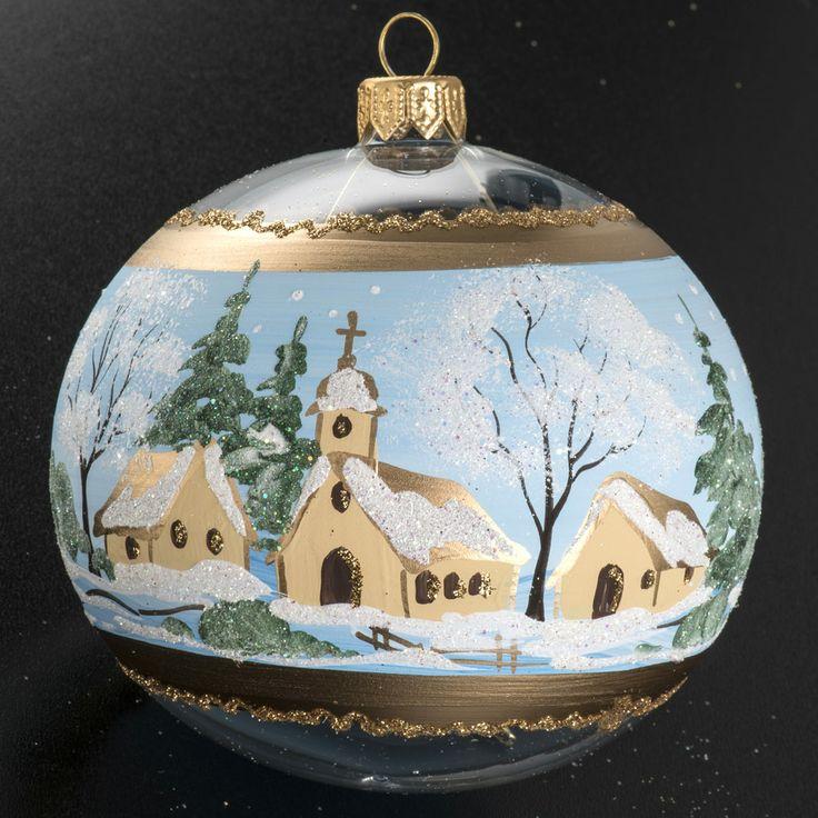 Boule de Noel verre paysage enneigé peint 10cm