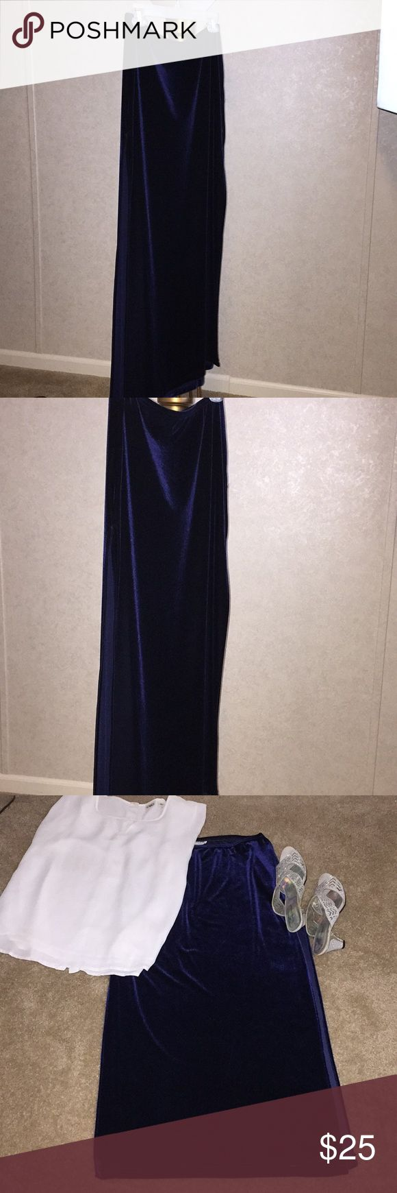 Jane Barr / Maxi Royal Blue Velvet  *$ALE* Elastic waistband. 38 inches long.  17 inches width. 30 inch slit right side.  26 inch slit left with additional 2 inch tacked slit stitch. (See photo) jane Baar Skirts Maxi