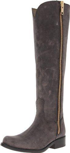 Steve Madden Women's Ruse Riding Boot,Black Leather,8 M US