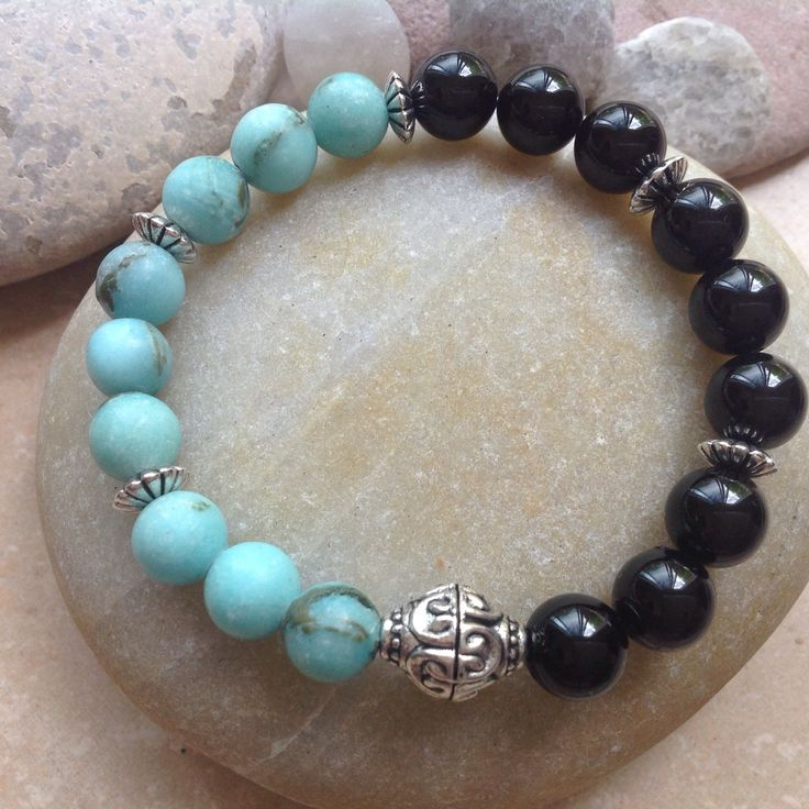 Blue Jasper and Black Onyx Bracelet