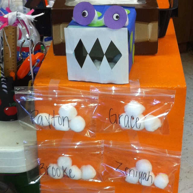 Great idea!! :) Tattle Monster. Each student has a bag of 4 cotton balls, if they want to tell the tattle monster something, they have to feed him. If at the end of the day they have all 4 cotton balls, they can buy a piece of candy with them.