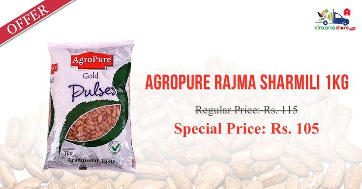Order Online Agropure Rajma Sharmili 1 Kg at Lowest Price from Kiraanastore.