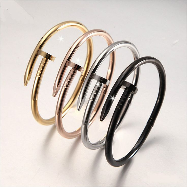 Hot Sale High Quality Women Men Jewelry Alloy Gold Plated Nail Screw Cuff Bangle Bracelet for Men Unique Accessories ** Click image for more details.