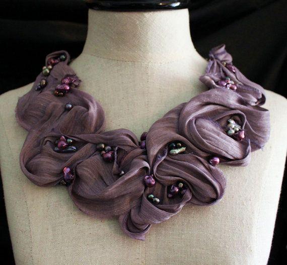 NeckpieceSilk Fabrics, Passion Silk, Purple Fabrics, Pearls Statement, Beautiful Necklaces, Freshwater Pearls, Collars Neckpiece, Purple Passion, Statement Collars