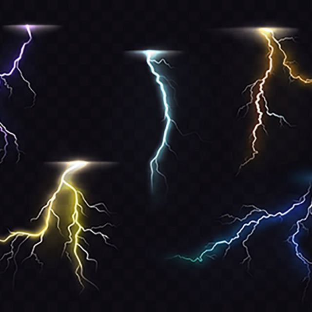 Lightning Flash Glowing Light Effects Vector Set, Lightning, Bolt