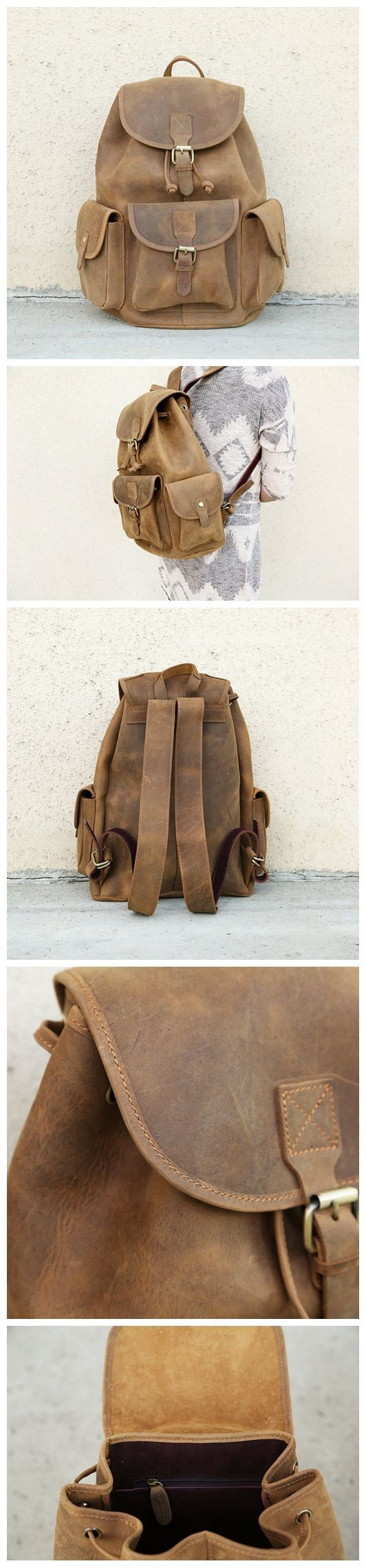 Handmade Vintage Leather Backpack / College Backpack /School Backpack 8891 from…