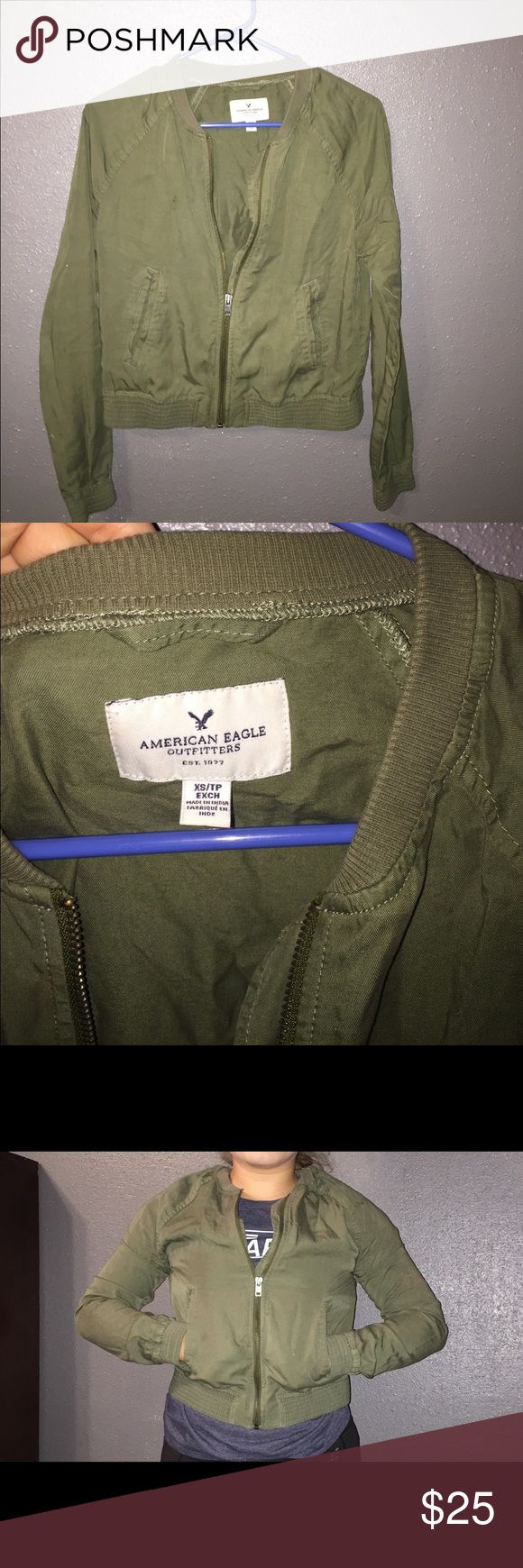 American Eagle olive green jacket. Olive green and perfect with the fall coming up. It's an XS and in perfect condition. American Eagle Outfitters Jackets & Coats Utility Jackets