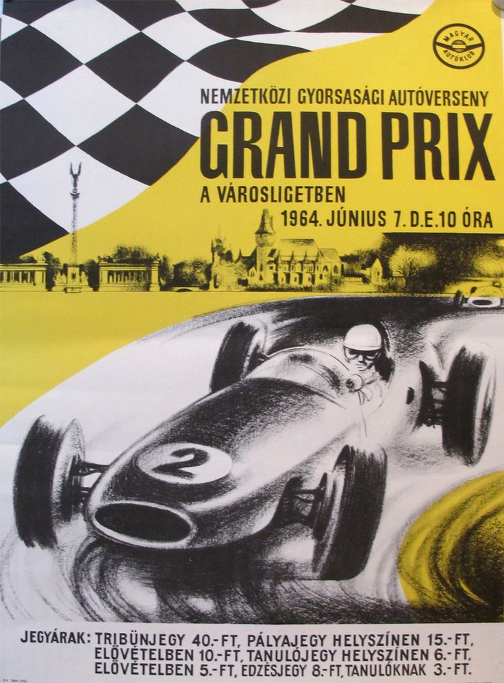 1964 Original Hungarian Grand Prix Poster #1960s #1964 #car #cars…