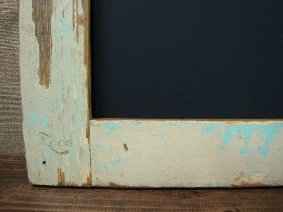 large framed chalkboard made from reclaimed wood 24x36 cream aqua