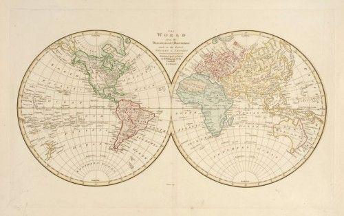 Ebenezer Bourne. The World from the Discoveries & Observations made in the Latest Voyages & Travels. 1808.