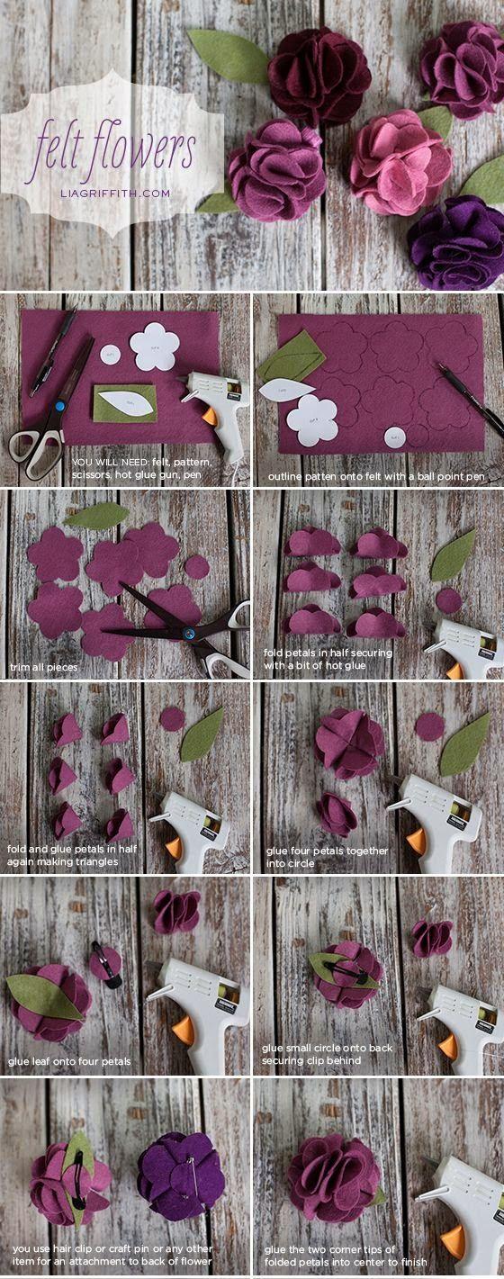ARTE COM QUIANE - Paps,Moldes,E.V.A,Feltro,Costuras,Fofuchas 3D: Passo a passo e molde Flor de feltro