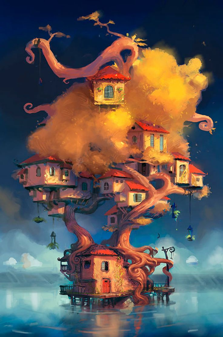 art by Drew Whitmore, like the idea of a floating village in a tree