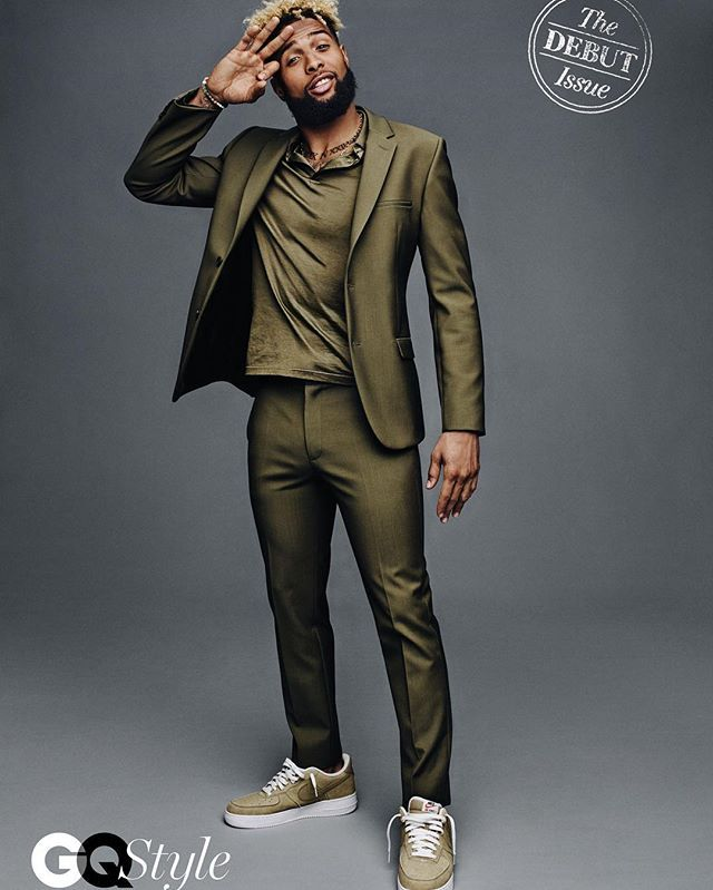 From the summer suit story in the debut issue of #gqstyle: Odell Beckham Jr. aka @iam_objxiii in all-green @calvinklein [@jasonkibblerstudio]