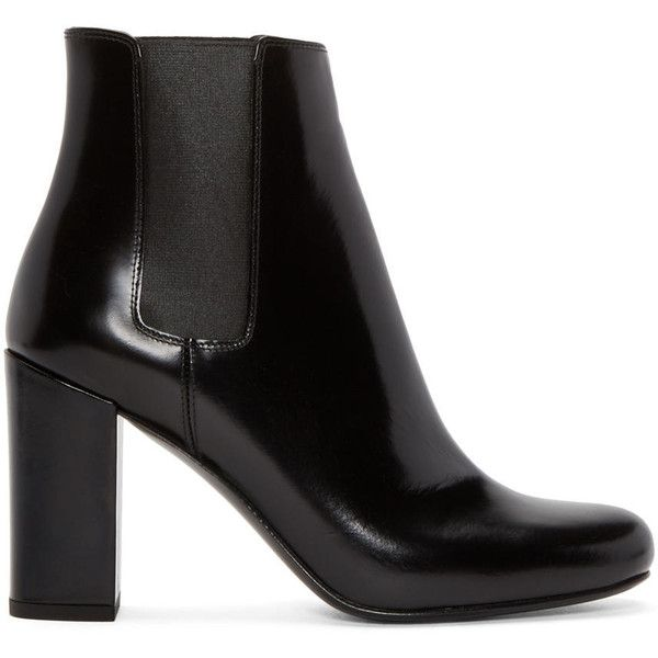 Saint Laurent Black Leather Babies Boots (58.570 RUB) ❤ liked on Polyvore featuring shoes, boots, polishing leather boots, leather sole boots, leather sole shoes, leather boots and black boots