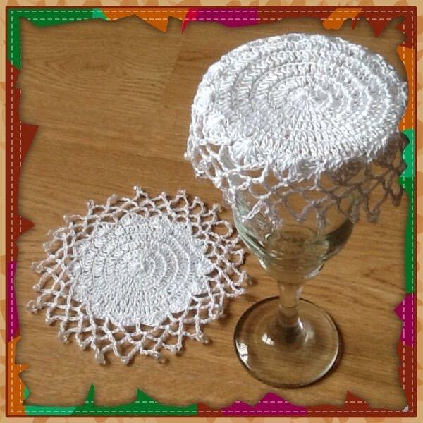 Handmade Crochet Beaded Glass, Jug Covers, Doileys, Pretty Gift! Set of 2
