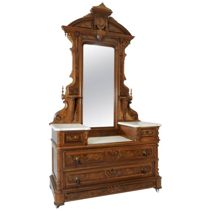 Victorian Gentleman's Dresser with Marble Tops | From a unique collection of antique and modern dressers at https://www.1stdibs.com/furniture/storage-case-pieces/dressers/