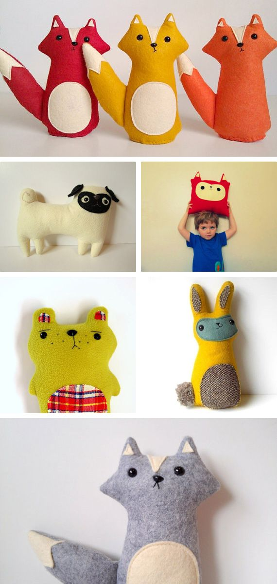 Animal handmade plushes from http://www.ohsweetbabies.com/toys-animal-handmade-plushes.php#