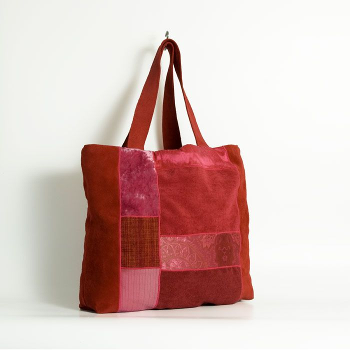 a red large patchwork handmade bag