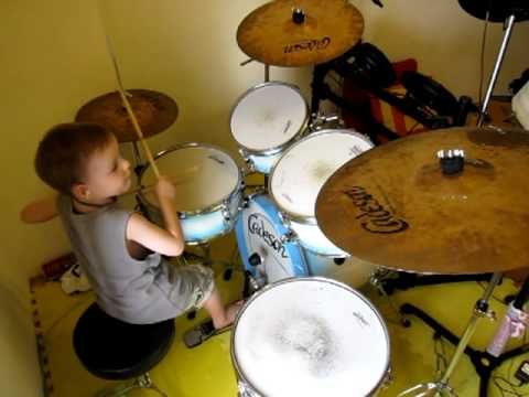 ACDC - Back in Black - Drum Cover - 5 Year Old Drummer; Pretty good argument for getting a drumset for my baby's 3rd birthday.